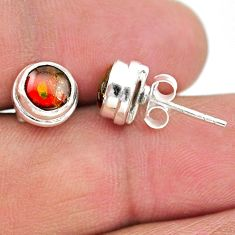 4.35cts natural multi color ammolite (canadian) 925 silver stud earrings t19434