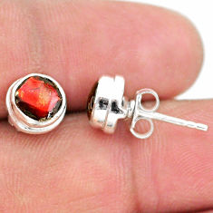 4.31cts natural multi color ammolite (canadian) 925 silver stud earrings t19435
