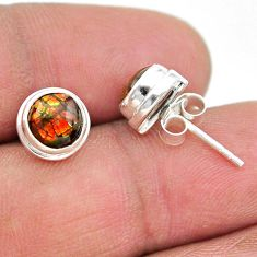 4.16cts natural multi color ammolite (canadian) 925 silver stud earrings t19437