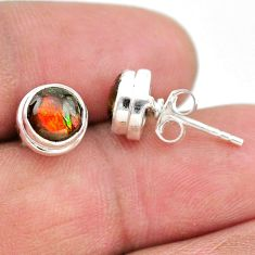 4.23cts natural multi color ammolite (canadian) 925 silver stud earrings t19439