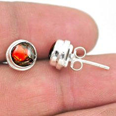 4.37cts natural multi color ammolite (canadian) 925 silver stud earrings t19440