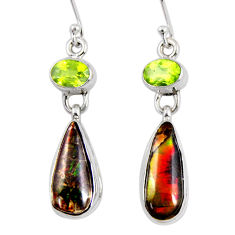 12.03cts natural multi color ammolite (canadian) peridot silver earrings r56224