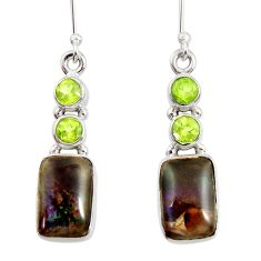 11.66cts natural multi color ammolite (canadian) silver dangle earrings d45819