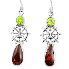 9.32cts natural multi color ammolite (canadian) silver dangle earrings r56253