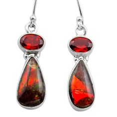 9.16cts natural multi color ammolite (canadian) silver dangle earrings t45284