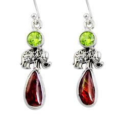 8.05cts natural multi color ammolite (canadian) silver elephant earrings r56245