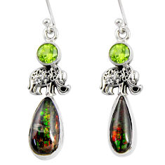 9.32cts natural multi color ammolite (canadian) silver elephant earrings r56249