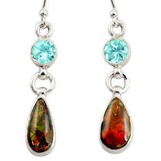 8.13cts natural multi color ammolite (canadian) topaz 925 silver earrings r39206