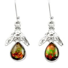8.05cts natural multi color ammolite 925 silver honey bee earrings d40562