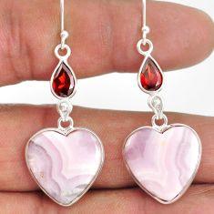 19.76cts natural multi color aragonite garnet 925 silver dangle earrings r86751