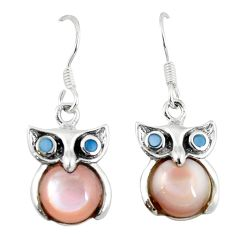 Natural multi color blister pearl 925 sterling silver owl earrings a58831 c14307