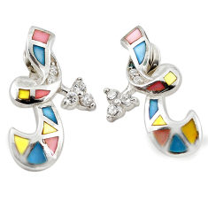 Natural multi color blister pearl topaz enamel 925 silver earrings a69653 c14292