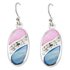 Natural multi color blister pearl topaz enamel 925 silver earrings a69677 c14262