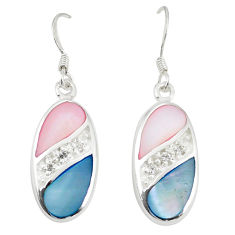 Natural multi color blister pearl topaz enamel 925 silver earrings a77486 c14264