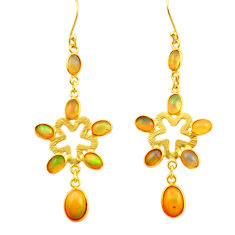 11.37cts natural multi color ethiopian opal 925 silver 14k gold earrings r31383