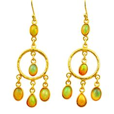10.37cts natural multi color ethiopian opal 925 silver 14k gold earrings r31396