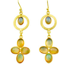 9.49cts natural multi color ethiopian opal 925 silver 14k gold earrings r31421