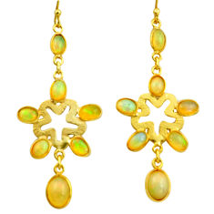 10.48cts natural multi color ethiopian opal 925 silver 14k gold earrings r38421