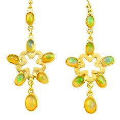 9.59cts natural multi color ethiopian opal 925 silver 14k gold earrings r38424