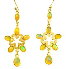 10.11cts natural multi color ethiopian opal 925 silver 14k gold earrings r38427