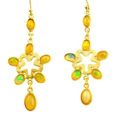 10.48cts natural multi color ethiopian opal 925 silver 14k gold earrings r38430