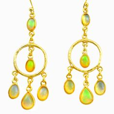 12.10cts natural multi color ethiopian opal 925 silver 14k gold earrings r38431