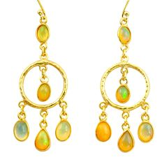 11.25cts natural multi color ethiopian opal 925 silver 14k gold earrings r38433