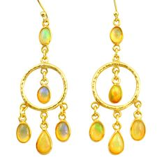 11.25cts natural multi color ethiopian opal 925 silver 14k gold earrings r38435