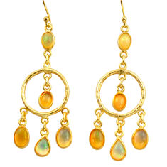 11.57cts natural multi color ethiopian opal 925 silver 14k gold earrings r38440