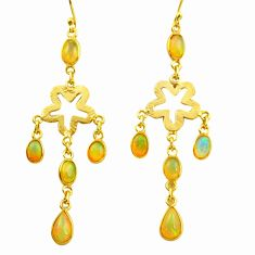9.25cts natural multi color ethiopian opal 925 silver 14k gold earrings r38442