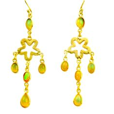 9.25cts natural multi color ethiopian opal 925 silver 14k gold earrings r38445