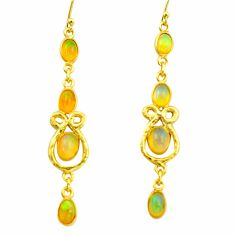 7.97cts natural multi color ethiopian opal 925 silver 14k gold earrings r38451