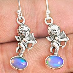 3.29cts natural multi color ethiopian opal 925 silver angel earrings r76241