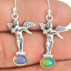 3.13cts natural multi color ethiopian opal 925 silver angel earrings r76250