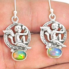 3.11cts natural multi color ethiopian opal 925 silver angel earrings r76257