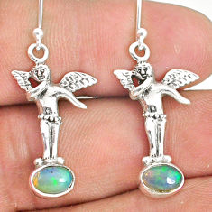 3.51cts natural multi color ethiopian opal 925 silver angel earrings r76262