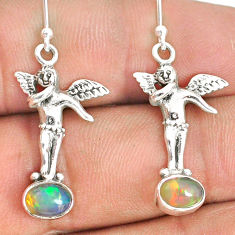 2.72cts natural multi color ethiopian opal 925 silver angel earrings r76276