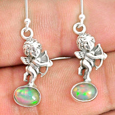 3.29cts natural multi color ethiopian opal 925 silver angel earrings r76277