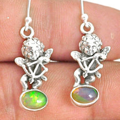 3.13cts natural multi color ethiopian opal 925 silver angel earrings r76281
