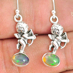 3.29cts natural multi color ethiopian opal 925 silver angel earrings r76299
