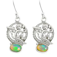 3.48cts natural multi color ethiopian opal 925 silver angel earrings r76709