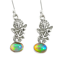 3.12cts natural multi color ethiopian opal 925 silver angel earrings r76711