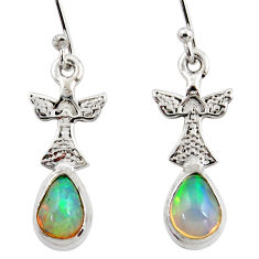 4.06cts natural multi color ethiopian opal 925 silver birds earrings r47426