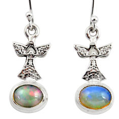 3.97cts natural multi color ethiopian opal 925 silver birds earrings r47427