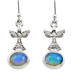4.02cts natural multi color ethiopian opal 925 silver birds earrings r47428