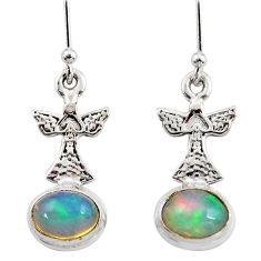 4.30cts natural multi color ethiopian opal 925 silver birds earrings r47430