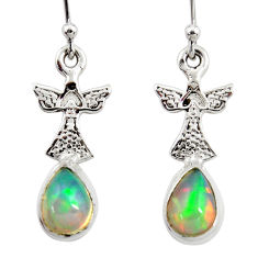 4.14cts natural multi color ethiopian opal 925 silver birds earrings r47453