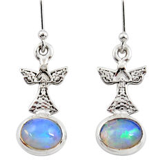 4.19cts natural multi color ethiopian opal 925 silver birds earrings r47477