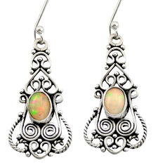 4.29cts natural multi color ethiopian opal 925 silver dangle earrings d47138