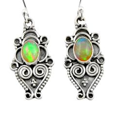 3.43cts natural multi color ethiopian opal 925 silver dangle earrings d47550